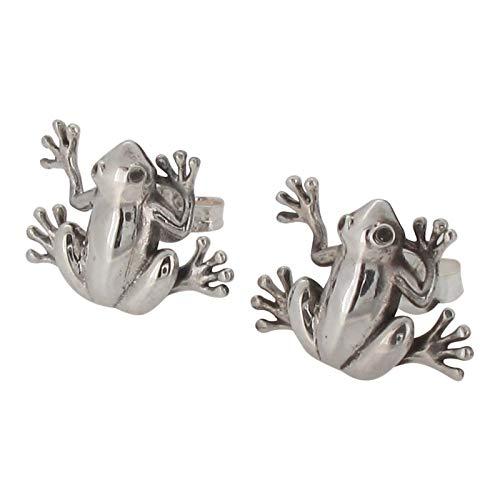 Broche de plata de ley diseño de rana Juego de pendientes de tuerca