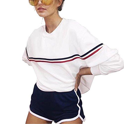 Weiss Rot Sweatshirt Damen Winter Beiläufig Gestreift Langarmshirt Pullover Pulli Teenager Mädchen Oversize (Weiß, Large)