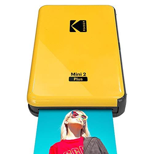 """Kodak Mini 2 Plus Portable Wireless Photo Printer, Print iOS & Android Social Media Photos via Bluetooth, Real Photo (2.1"""" x 3.4""""), 4Pass Technology & Laminating Process, Premiun Quality – Yellow"""