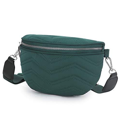 Wind Took Umhängetasche Damen Bauchtasche Gürteltasche Kleine Tasche Schultertasche Mode Brusttasche Sporttasche für Party Reise Outdoor, Waldgrün