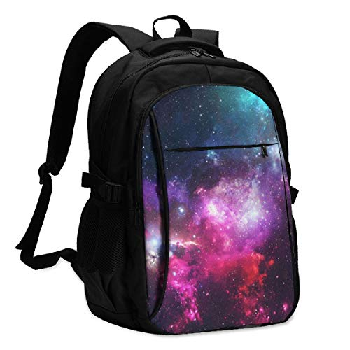 Lzxlxr Stars of The Boundless Starry Sky Backpack for School with USB Charging Port & Headphone Port for Men Women, Laptop Backpack Fits 14-16'' Laptops