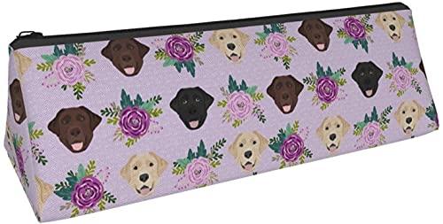 Driehoek pennenzak Labrador Retriever paarse bloem hond bedrukte etui, cosmetische tas, ritszak voor dagelijkse opslag van kleine voorwerpen op school, kantoor, reizen of make-up.