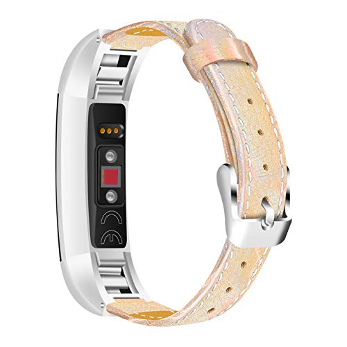 GhrKwiew Bandas de Cuero para Fitbit Alta HR, Correa Clásica de Repuesto de Cuero Genuino Correa de Liberación Rápida Mujer Hombre Accesorios para Fitbit Alta/Alta HR (Oro)
