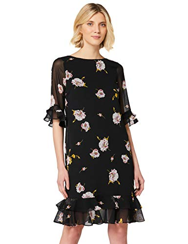 Amazon-Marke: TRUTH & FABLE Damen Midi Chiffon-Kleid mit A-Linie, Blau (Black/Pink Floral), 46, Label:3XL