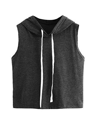 SweatyRocks Women's Summer Sleeveless Hooded Crop Tank Top T-Shirt Grey Small