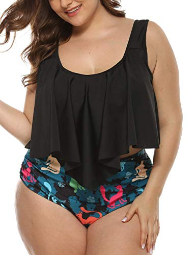 Hilor Women's High Waisted Bikini Plus Size Swimwear Crop Flounce Two Piece Bathing Suits Black 5XL(US 24)