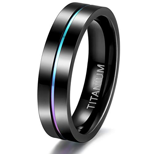 TIGRADE 5mm 7mm Rainbow Titanium Ring Colorful Thin Groove Wedding Band Couple Rings Size 5-13, 5mm, Size 8