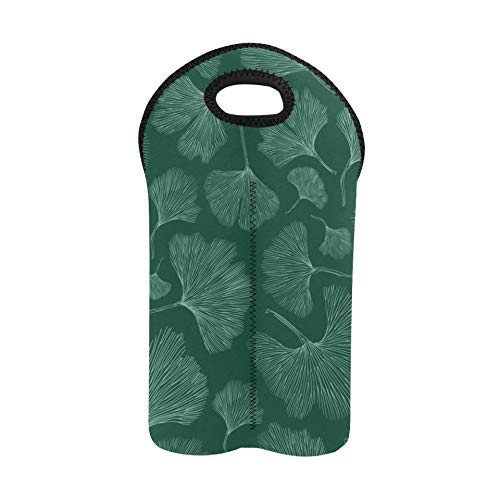 Wine to Go Bag Fashion Natural Ginseng Medicinal Herbs Wine Totes and Carriers 2 Bottle Double Bottle Carrier Wine Picnic Bag Thick Neoprene Wine Bottle Holder Keeps Bottles Protec