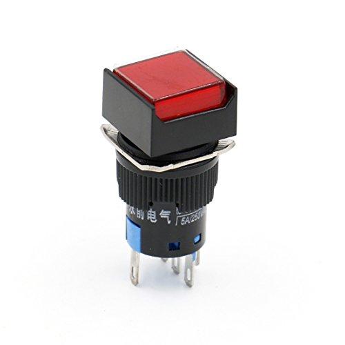 Heschen 16 mm quadratischer Druckknopfschalter 1NO 1NC 220 V LED Lampe 5 Stück, rot, 5