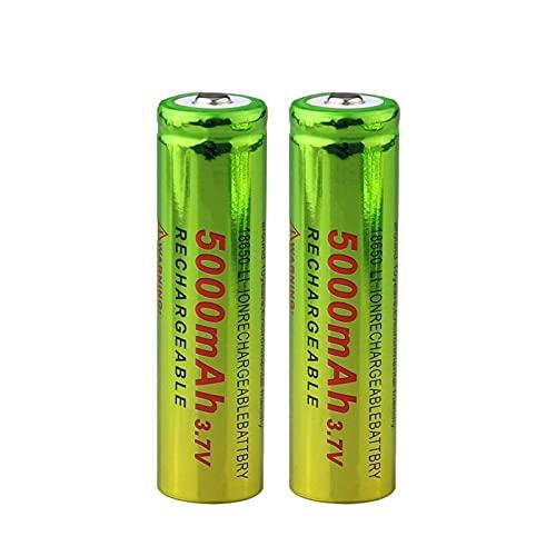 yfkjh 3.7v 5000mah 18650 Batería De Iones De Litio De Litio, Celda De BateríAs Recargables para Linterna Verde Amarillo 2pcs