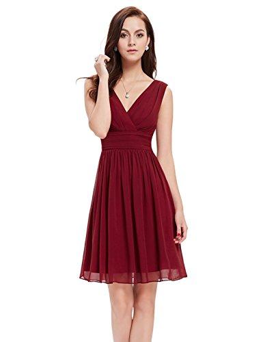 Ever-Pretty Doppelt V-Ausschnitt Rueschen an Taille Kurz Damen Party Kleider Größe 38 Burgundy