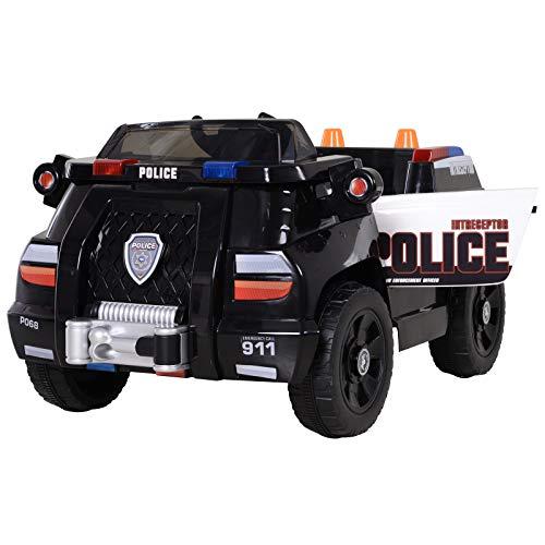 HOMCOM Coche de Policía Eléctrico para Niño con Mando a Distancia Vehículo de Policía con Música y Luces Doble Apertura de Puerta Batería 6V Carga 30kg 106.5x66x52.6cm 3 Años+