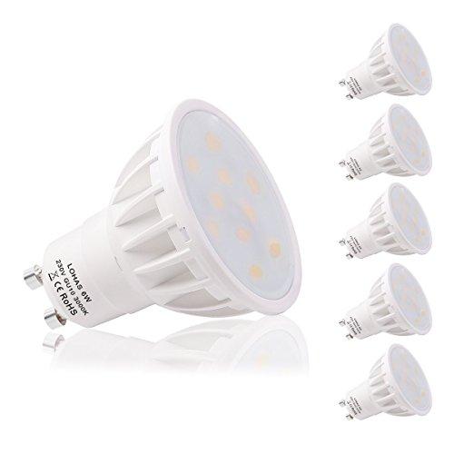 Lampadine LED GU10 6W, GU10LEDCalda, Bianca Calda 3000K, 500lm, LOHAS Equivalenti a Lampadine Alogene da 50Watt, Angolo del Fascio di 120 Gradi, Non Dimmerabili, Confezione da 5