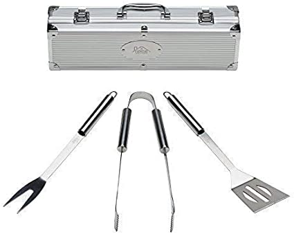 3PC BBQ SET STAINLESS STEEL BARBECUE UTENSIL CUTLERY TOOL SET KITCHEN GARDEN NEW