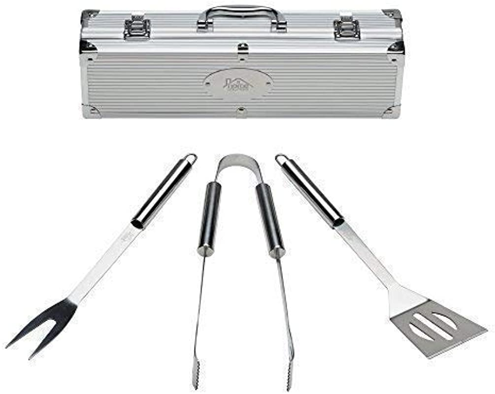Home Solutions Grill Tools Set With Barbecue Accessories Stainless Steel BBQ Utensils With Aluminum Case Grilling Kit Gifts For Men 3 Piece