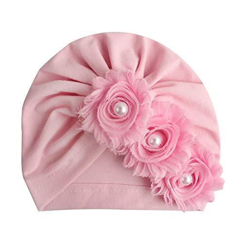 MoreChioce Gorro para bebé recién nacido, suave algodón, turbante para niña, gorro de punto, diadema elástica con perlas, flor para el pelo, gorro para bebé, color rosa