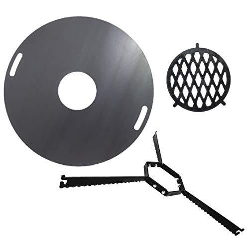 A. Weyck Tools Komplettset Feuerplatte 80cm + Abstandshalter + Grilleinsatz BBQ Grill Plancha Starter Set #200