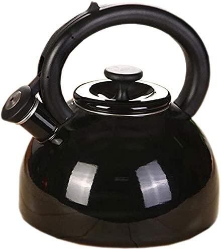 Negro Stovetop Teakettle Hervidor Esmalte 2.5L Espesar Té Café Gas Cocina de Inducción General 2 Color 18.5cm23cm9.2cm
