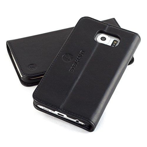 EDELHAUT Handytasche mit unsichtbarem Magnetverschluss in schwarz für Samsung Galaxy S6 aus echtem Leder