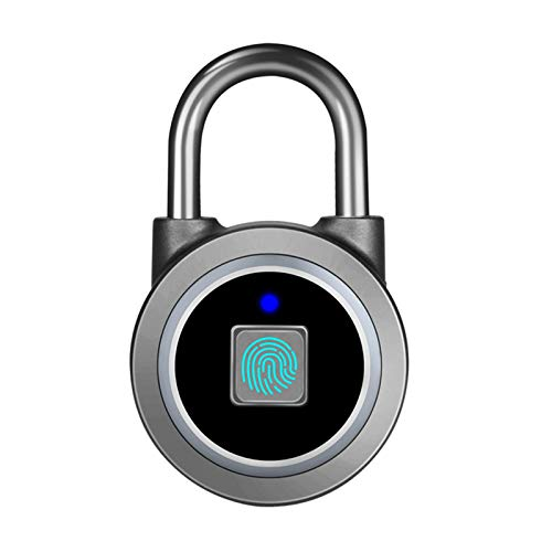 Fingerprint Padlock, GJCrafts Smart Padlock Waterproof Anti-Theft Portable USB Rechargeable Padlock for Gym, Bicycle, School, Cabinet, Garage and Luggage Suitcase.