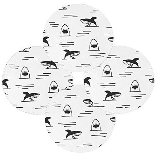 Juego de 4 manteles individuales de poliéster con diseño de tiburones redondos resistentes al calor, lavables y resistentes a las manchas, antideslizantes, para decoración de cocina, comedor
