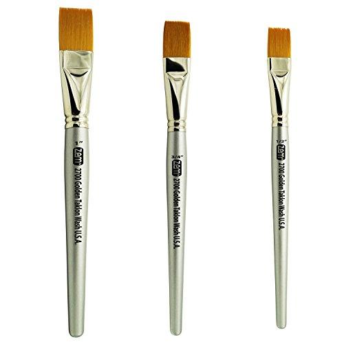 ZEM Brush Golden Taklon Wash Brush Set Sizes 1/2', 3/4', 1'