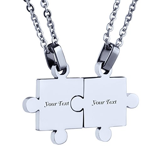 Custom Engraving Name/Date Stainless Steel Matching Jigsaw Puzzle Pendant Chain Necklace for Couple's Gift (Silver)