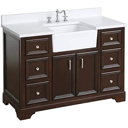 Zelda 48-inch Bathroom Vanity (Quartz/Chocolate): Includes Chocolate Cabinet with Stunning Quartz Countertop and White Ceramic Farmhouse Apron Sink