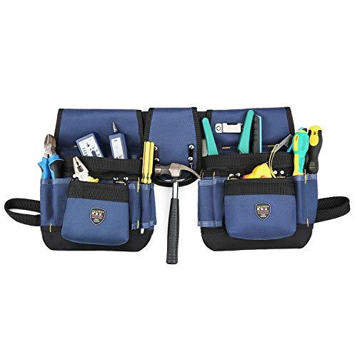 BAIGIO Werkzeugtasche Werkzeug-Gürteltasche Werkzeuggürtel mit Hammerschlaufe für Werkzeug und Zubehör (Blau)