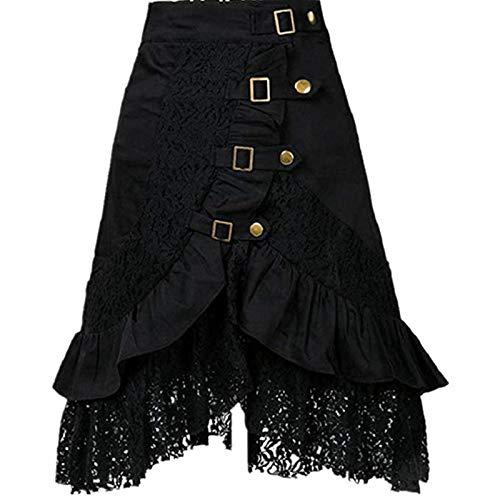 Taiduosheng Falda Steampunk para mujer, estilo punk gótico, retro, de encaje, color negro