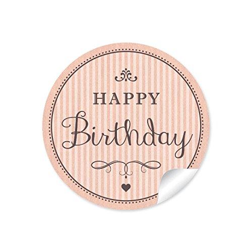 """24 STICKER:\""""Happy Birthday\"""" 24 Geburtstagsaufkleber/Etiketten im\""""Retro-Vintage-Style\"""" in Apricot mit Herz und Ornamente (A4 Bogen) • Papieraufkleber (Aufkleber im Format 4 cm, rund, matt)"""