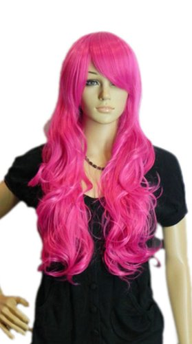 Qiyun Longue Rose Pink Rouge Ondule Boucle Ramp Frange Cosplay Synthetique Cheveux Complete Perruque