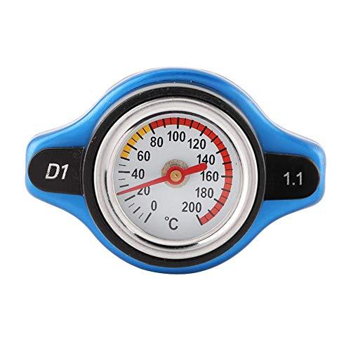 Yctze Cubierta termostática del automóvil Tapón de Radiador cubierta de tapa termostática de cabeza pequeña Clasificación de presión con medidor de temperatura del agua (1.1bar)
