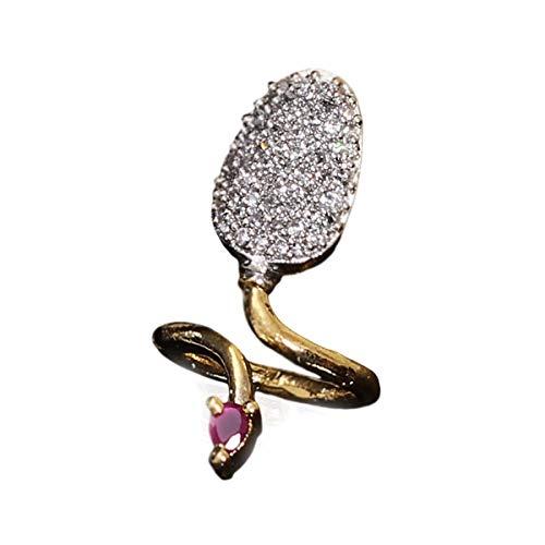 SURYAGEMS Beautiful Design Polki Ring Oval Ruby, Cubic Zircon Pink-White Indian Handmade 14K Gold Plated Fashion Jewellery for Girls Ladies Women MSR 7-B