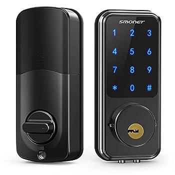 Smart Lock,SMONET Touchscreen Keypad Deadbolt,Keyless Door Entry for Exterior Door,Passcode Code Front Door Lock,WiFi Door Lock Compatible with Alexa,Bluetooth Deadbolt Lock for Home Office