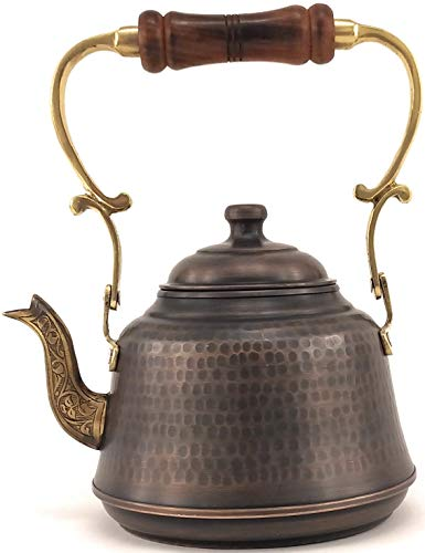 The Silk Road Trade - 2020 - EC Series - Heavy Gauge Thickness Handmade Hammered Large Copper Coffee/Tea Pot Kettle Stovetop with Ergonomic Wooden Handle (2.1 Quart / 2.0 Liter) (Antique Copper)