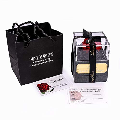 RomeoundLove Rosenbox Folwerbox Geschenkbox Blumenbox Blumen Rote Rosen Deko konservierten Echte Rosen Flower Box Natürliche Rosen Wunsch Gravur Valentinstag Geburtstag Jahrestag Hochzeitstag