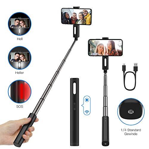 Yoozon Bluetooth Selfie Stick mit Licht(2 Heilligkeiten in Weiß/SOS Leuchte)und eingebauter Fernbedienung,Aluminium Mini Selfiestick,Selfie Stange Monopod für alle 3,5-6,5