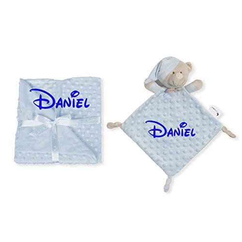 Manta de Bebe Personalizado con su Nombre Bordado, Cochecito o capazo. (Manta + DouDou Azul)