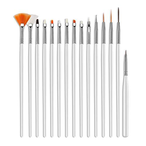 Lot de 15 pinceaux à ongles WanBeauty - Outils de manucure pour nail art, dessin, sculpture, pointillage, pinceaux, gel UV