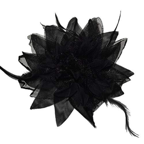 Accessoires & Schmuck Haarschmuck mit Federn Haarblume Ansteckblume Ansteckblüte Glitzer Hochzeit Karneval (Schwarz)