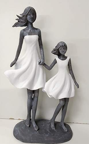 Jolipa Statuina Decorativa Statua Moderna Mamma Figlia Donna Bambina Resina Grigio Bianco