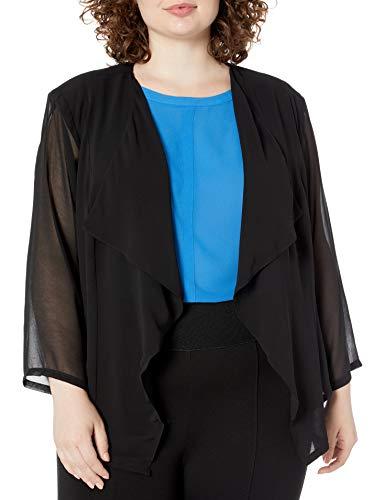 Calvin Klein Women's Plus Size Chiffon Fly Front Shrug, Black, 1X