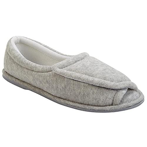 CLINIC SHOE Women's Terry Cloth Comfort Slippers, Adjustable Upper, Medium Width - Gray - Large
