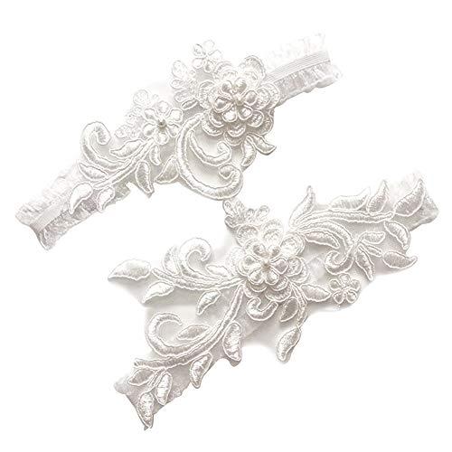 Ironhorse 2 piezas de liguero de encaje blanco para novia, elástico, vestido...