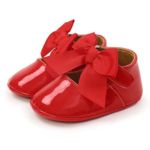 Zapatos Antideslizantes para bebé con Lazo y Empeine Superior de Piel sintética Brillante, Zapatos Planos Mary Jane para Fiestas y Bodas