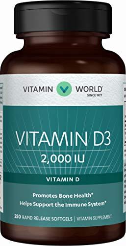 Vitamin World Vitamin D3 2000 IU 250 softgels, Bone Health, Immune Support, Absorption of Calcium, Rapid-Release, Gluten Free