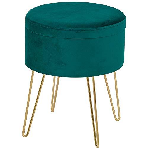homcom Pouf Contenitore 2 in 1 con Funzione Sgabello e Tavolino, in Legno e Velluto Verde, Metallo con Finitura Oro, 36x36x45cm