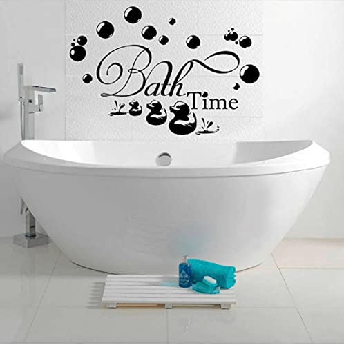 Tiempo De Baño Negro Burbuja Empapada Relajación Pared Pegatina Baño Decoración De Arte Diy