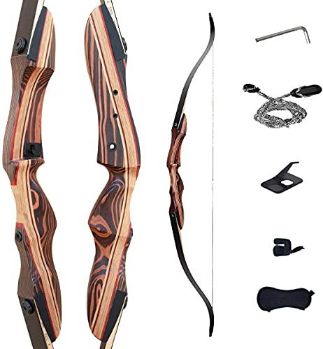 """Deerseeker 62"""" Takedown Recurve Bow Archery for Hunting Targeting Shooting Adults & Youth Right and Left Handed Laminated Wooden Riser (RH 50lb)"""
